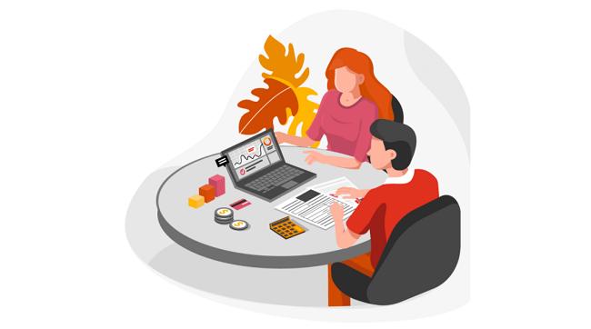 Illustration två människor arbetar vid samma bord