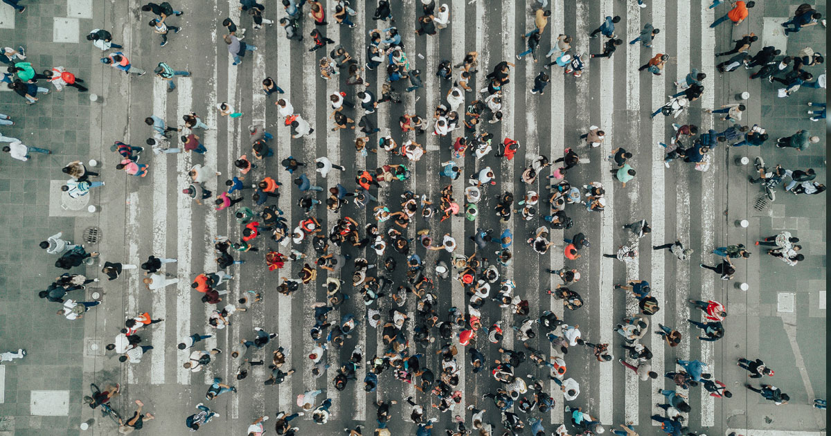 Busy street crossing seen from above